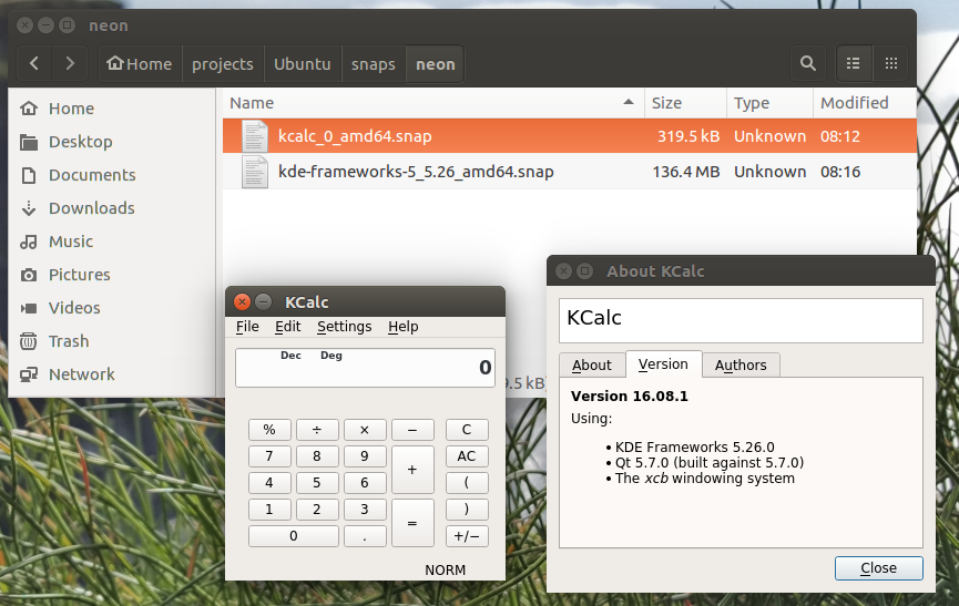 KCalc and KDE Frameworks snaps